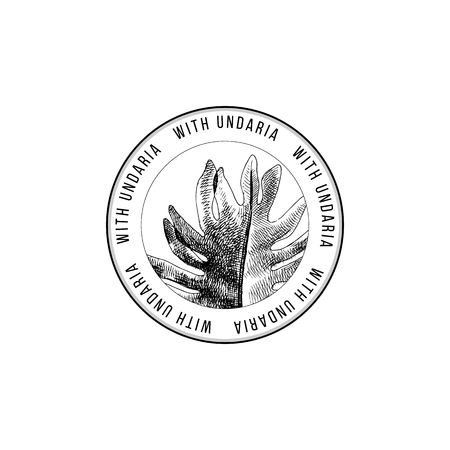 Round emblem with hand drawn Wakame or Undaria Pinnatifida alga. Vector illustration
