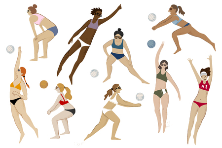 Beach volleyball players. 9 girls in action. Vector illustration