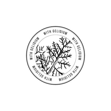 Round emblem with hand drawn Gelidium algae. Vector illustration