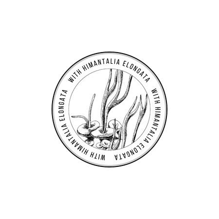 Round emblem with hand drawn Himantalia Elongata algae. Vector illustration