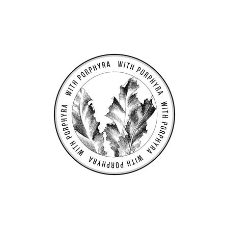 Round emblem with hand drawn Porphyra seaweed. Vector illustration