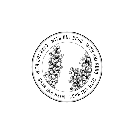 Round emblem with hand drawn Sea grapes or Umi Budo algae Vector illustration