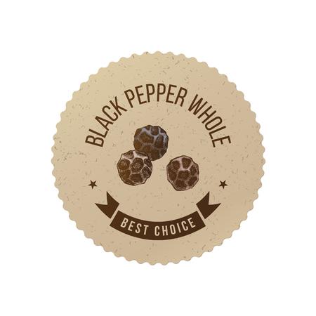 Black pepper emblem with hand drawn peppercorns Stock Vector - 124158193