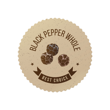 Black pepper emblem with hand drawn peppercorns