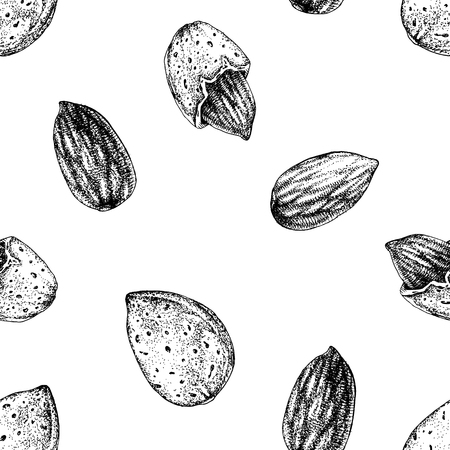 Seamless pattern with hand drawn almonds 일러스트