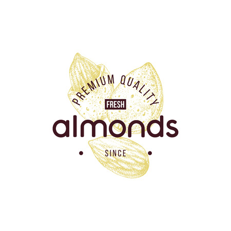 Emblem with type design and hand drawn almonds