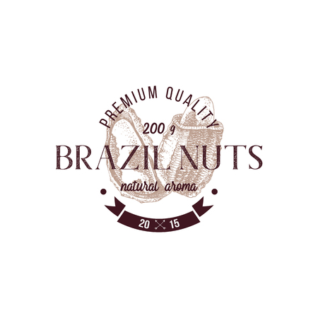Emblem with type design and hand drawn brazil nuts Illustration