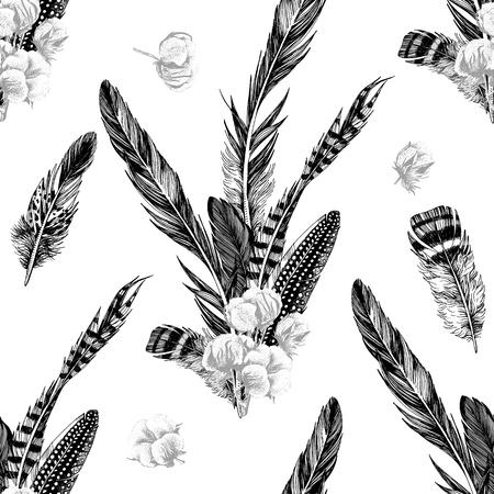 Seamless pattern with hand drawn feathers and cotton. Vector illustration Banque d'images - 128182567
