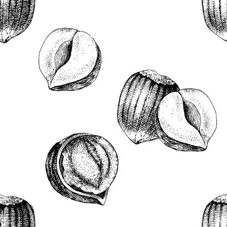 Seamless pattern with hand drawn hazelnuts