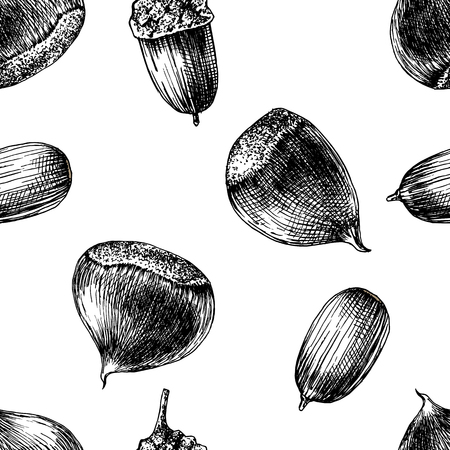 Seamless pattern with hand drawn chestnuts and acorns Çizim