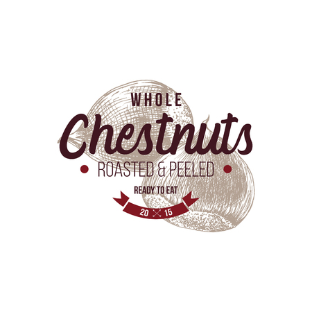 Emblem with type design and hand drawn chestnuts