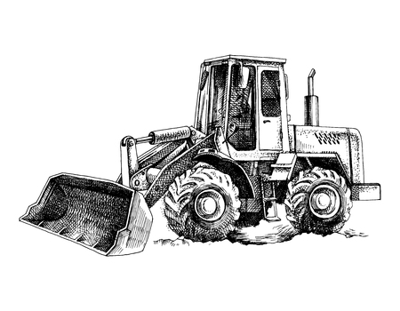 Hand drawn bulldozer Illustration