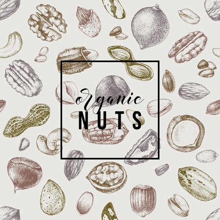 Organic nuts emblem over seamless pattern with hand drawn nuts. Vector illustration in retro style Illustration