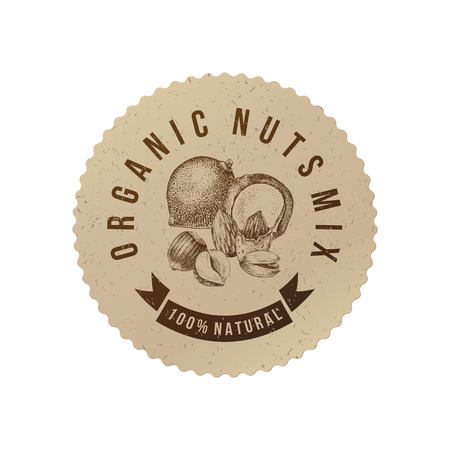 Vector round label in eco style with type design and hand drawn nuts