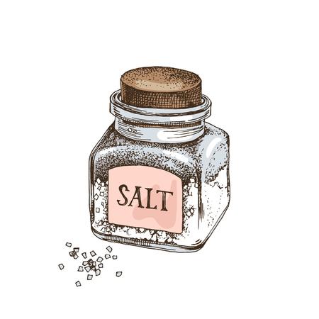 Bottiglia di vetro disegnata a mano con sale e cristalli isolati su sfondo bianco. Illustrazione vettoriale Vettoriali
