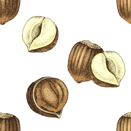 Seamless pattern with hand drawn hazelnuts