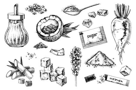 Ensemble d'icônes de sucre dessinés à la main