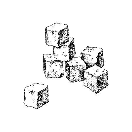Cubes de sucre dessinés à la main isolés sur fond blanc. Illustration vectorielle