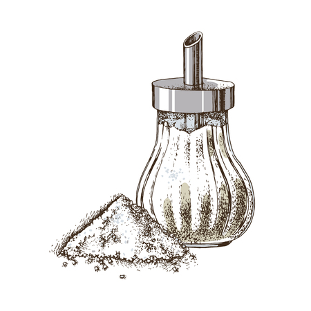 Hand drawn sugar bowl and heap of sugar isolated on white background. Vector illustration Banco de Imagens - 128182582