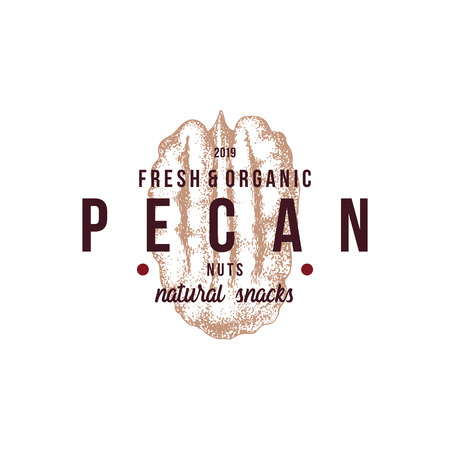 Emblem with type design and hand drawn pecan nut Ilustrace