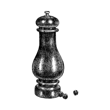 Hand drawn pepper mill with peppercorns isolated on white background. Vector illustration Ilustração
