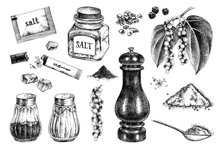 Hand drawn salt and pepper icons Stock Illustratie
