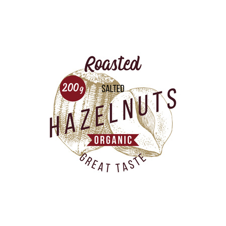 Emblem with type design and hand drawn hazelnuts Illustration