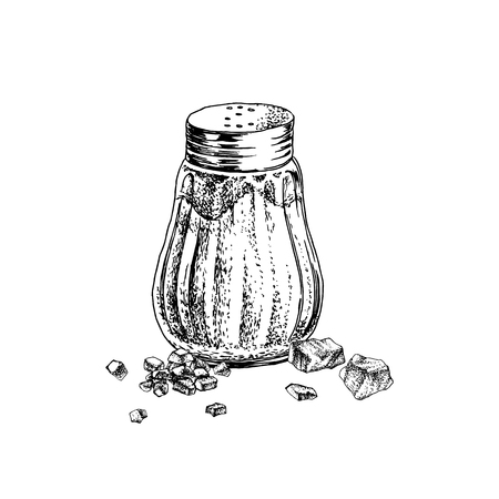 Hand drawn salt shaker and crystals
