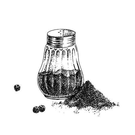 Hand drawn black pepper shaker and heap of ground pepper. Vector illustration