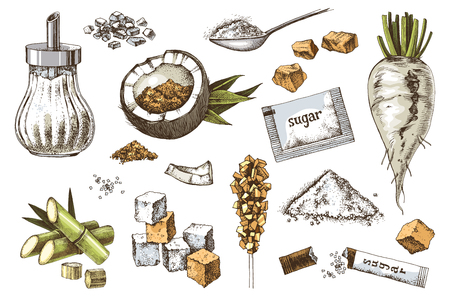 Conjunto de iconos de azúcar dibujados a mano