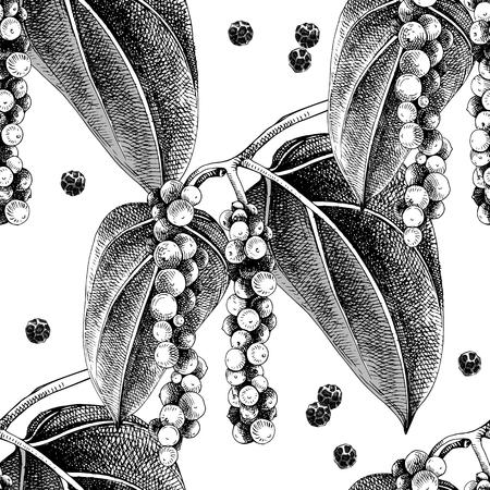 Nahtloses Muster mit Hand gezeichneter Pfefferpflanze. Bunte Vektorillustration im Retrostil