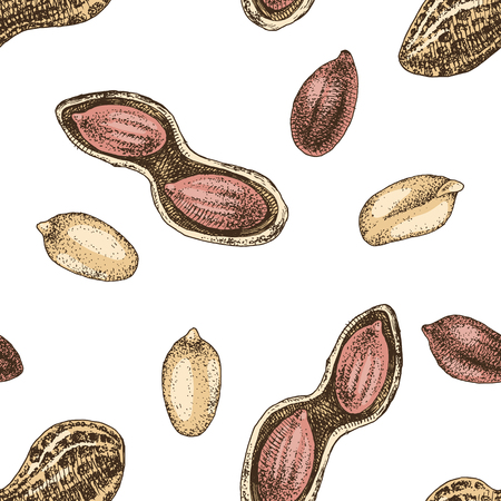 Seamless pattern with hand drawn peanuts