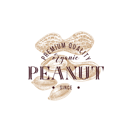 Emblem with type design and hand drawn peanuts Çizim