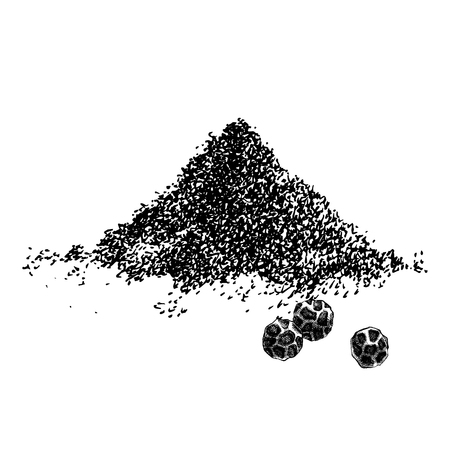 Hand drawn heap of ground pepper and three papppercorns. Vector illustration