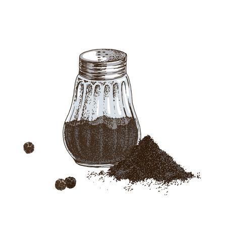 Agitatore di pepe nero disegnato a mano e mucchio di pepe macinato. Illustrazione vettoriale