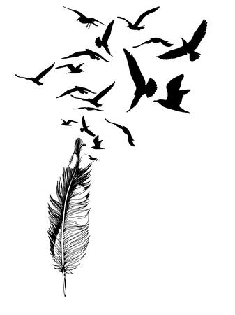 Pluma de gaviota dibujada a mano con siluetas de aves voladoras. Concepto de tatuaje. Ilustración vectorial