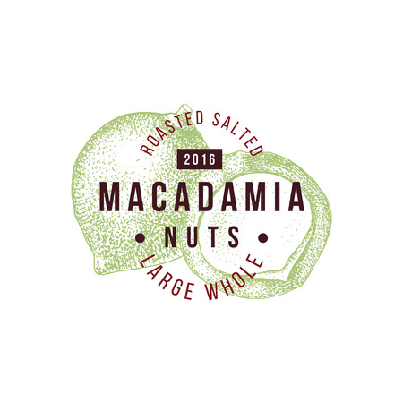 Emblem with type design and hand drawn macadamia nuts.