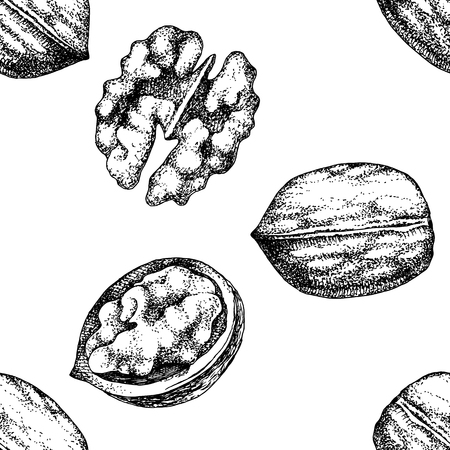 Seamless pattern with hand drawn walnut nuts
