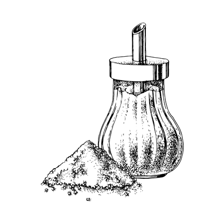 Hand drawn sugar bowl and heap of sugar isolated on white background. Vector illustration Banco de Imagens - 128182596