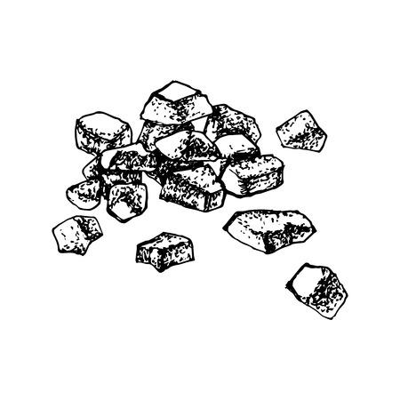 Zucchero caramellato disegnato a mano isolato su priorità bassa bianca. Illustrazione vettoriale