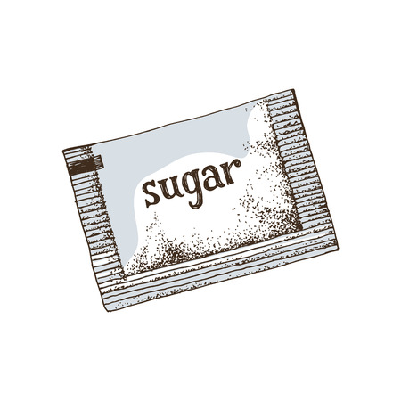 Hand drawn colorful sugar sachet isolated on white background. Vector illlustration