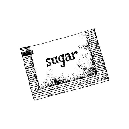 Sachet de sucre dessiné à la main isolé sur fond blanc. Illustration vectorielle