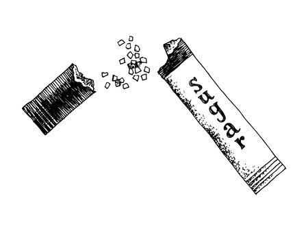 Hand drawn open sugar sachet isolated on white background. Vector illustration