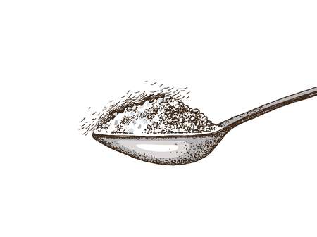 Hand drawn spoon with sugar. Vector illustration Ilustração
