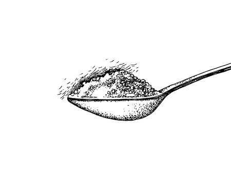 Cuillère dessinée à la main avec du sucre. Illustration vectorielle Vecteurs