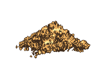 Hand drawn heap of brown sugar on white background. Vector illustration