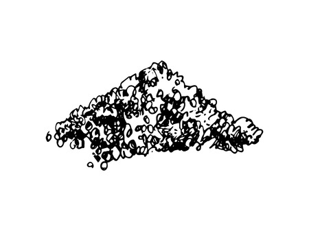 Hand drawn heap of sugar on white background. Vector illustration