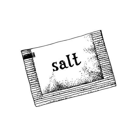 Hand drawn salt sachet isolated on white background. Vector illustration