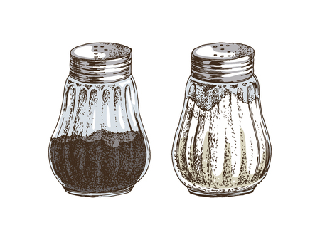 Hand drawn salt and pepper shakers isolated on white background. Vector illustration Çizim