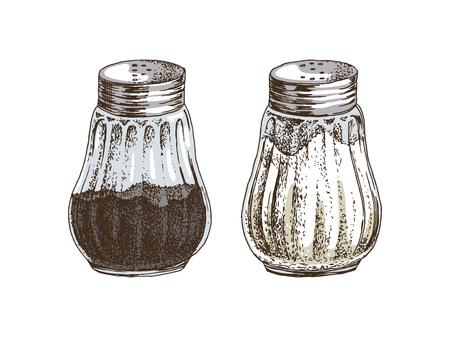 Salières et poivrières dessinées à la main isolées sur fond blanc. Illustration vectorielle
